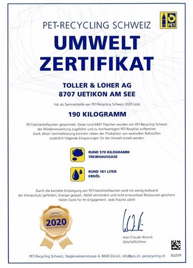 PET Zertifikat 2020